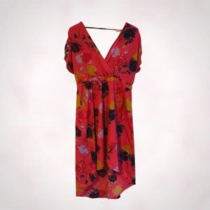 Angie Red Floral Asymmetrical Dress